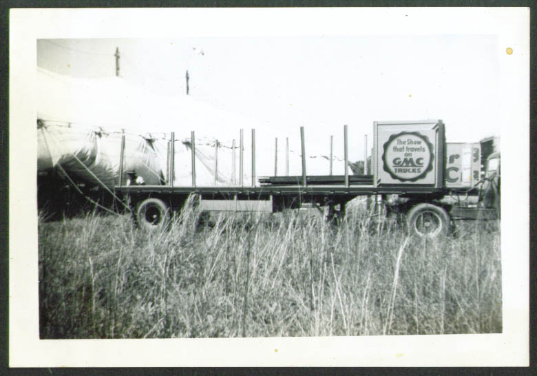 GMC seat truck Biller Bros circus photo Talladega 1949