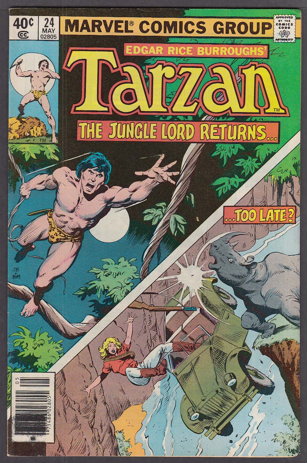 TARZAN #24 Marvel comic book Burroughs 5 1979