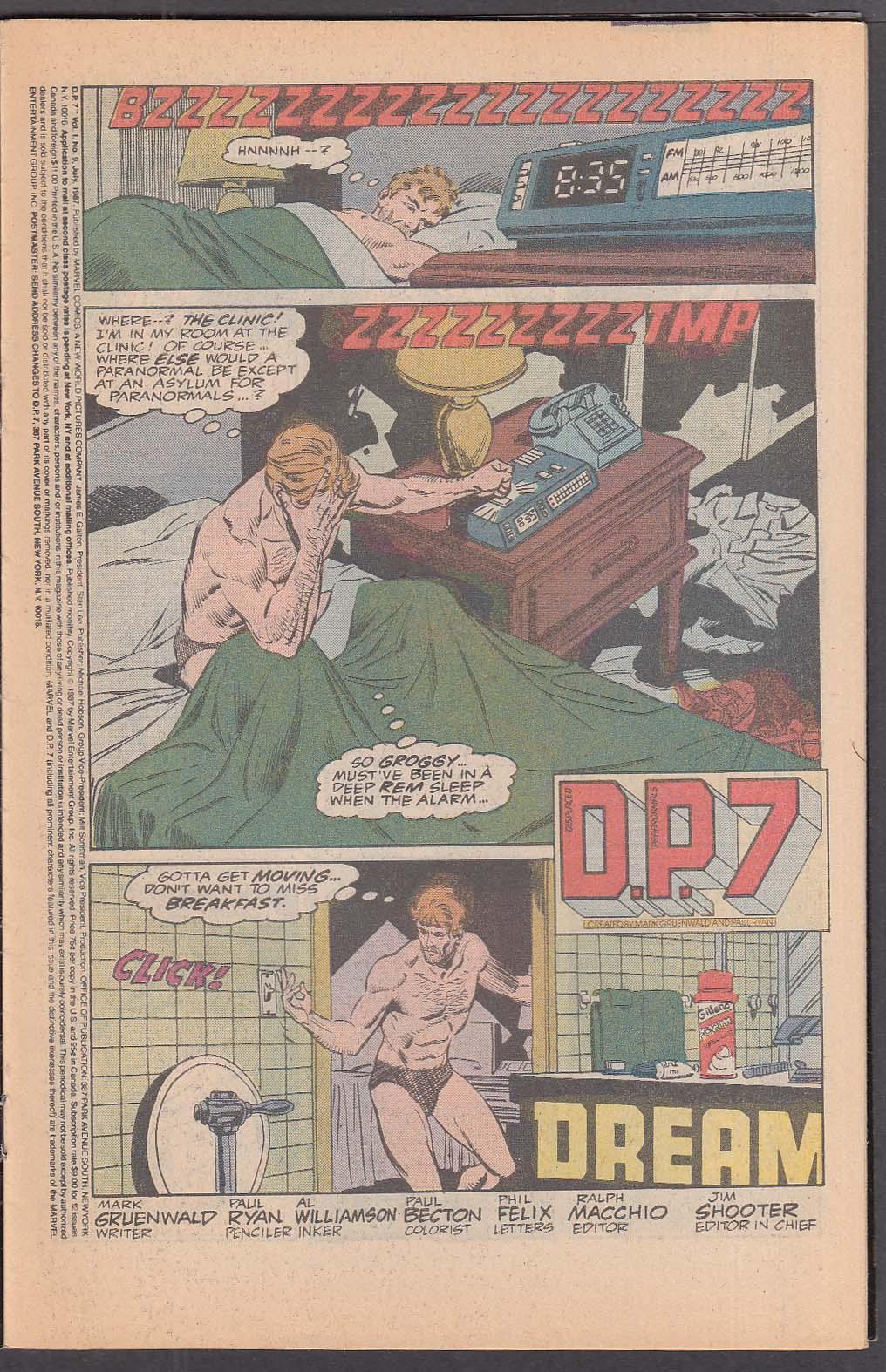 D. P. 7 #9 Marvel New Universe comic 7 1987