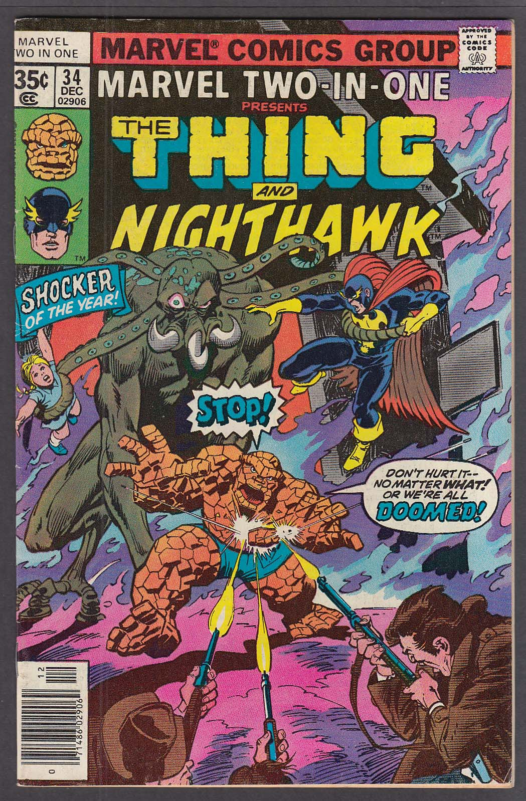 Image for MARVEL TWO-IN-ONE #34 The Thing Nighthawk comic book 12 1977