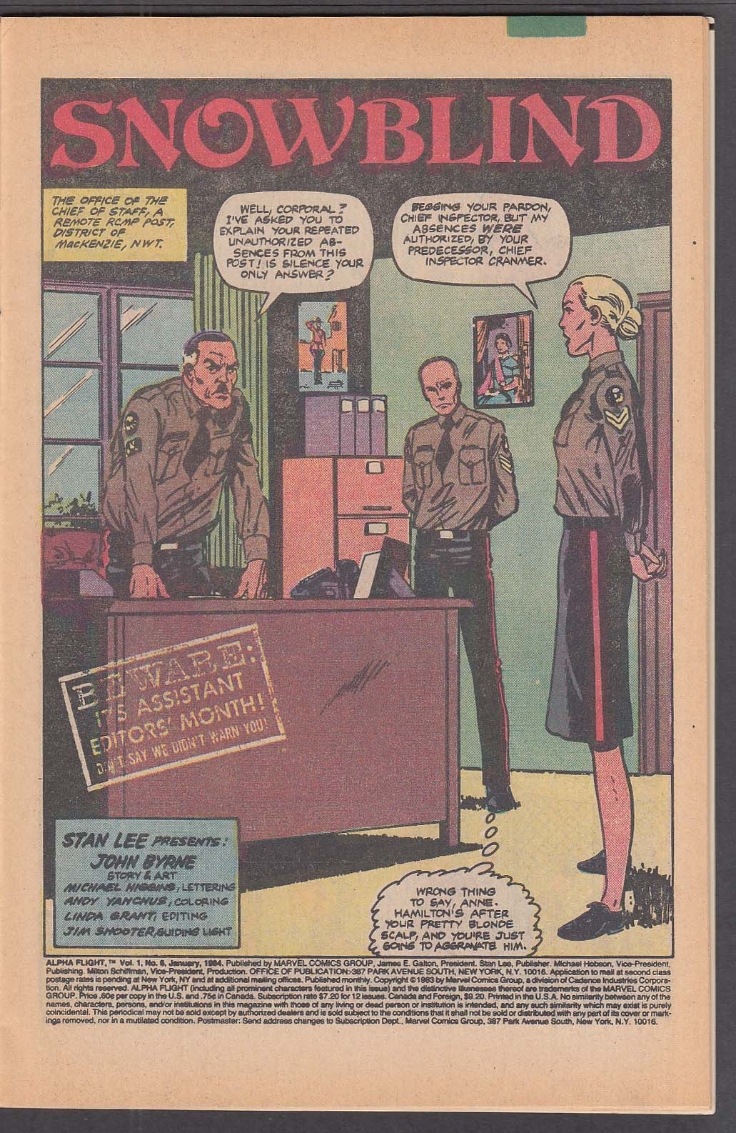 ALPHA FLIGHT #6 Marvel comic book 1 1984