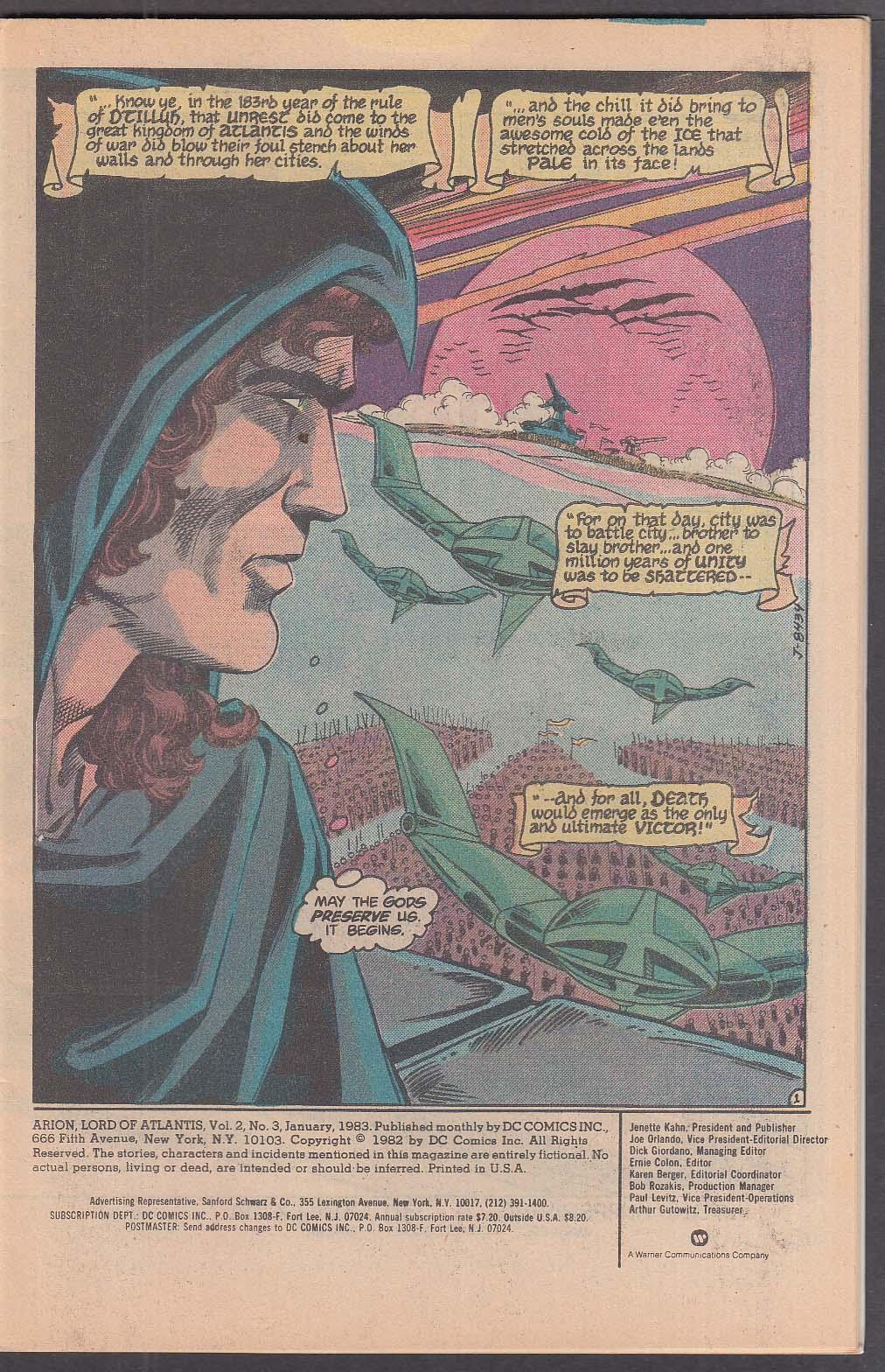 ARION Lord of Atlantis #3 DC comic book 1 1983