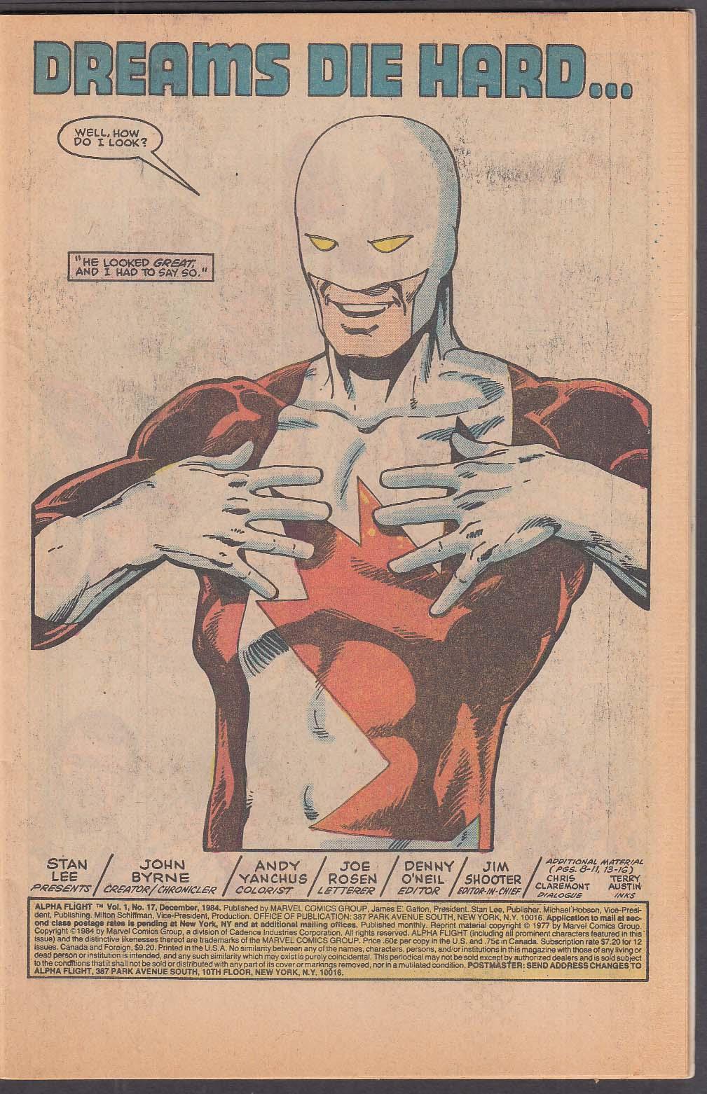 ALPHA FLIGHT #17 Marvel comic book 12/1984