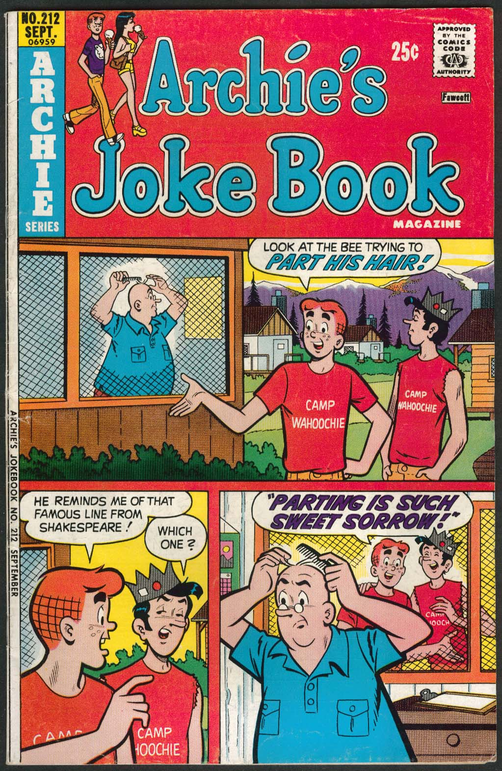 ARCHIE'S JOKE BOOK #212 Archie series comic book 9 1975
