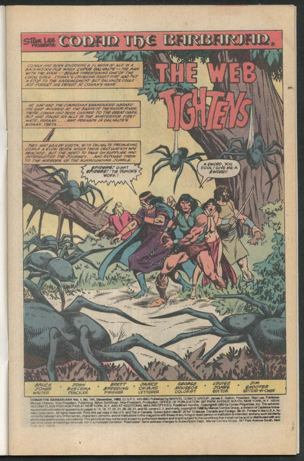 CONAN the BARBARIAN #141 Marvel comic book 12 1982