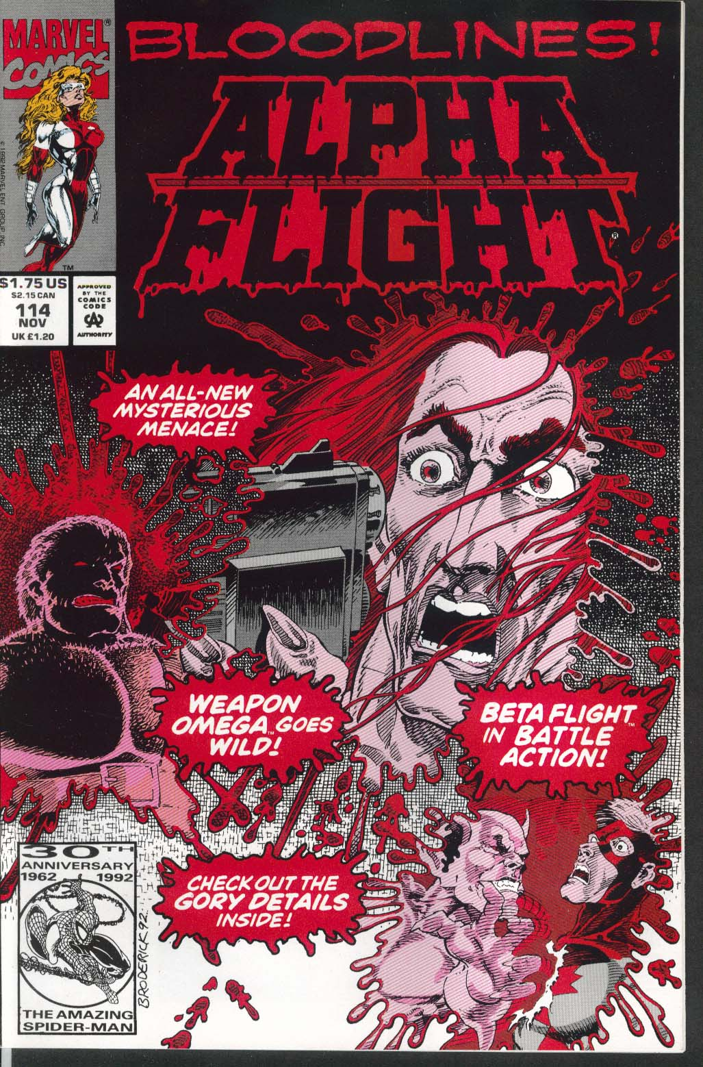 ALPHA FLIGHT #114 Marvel comic book 11 1992 Bloodlines!