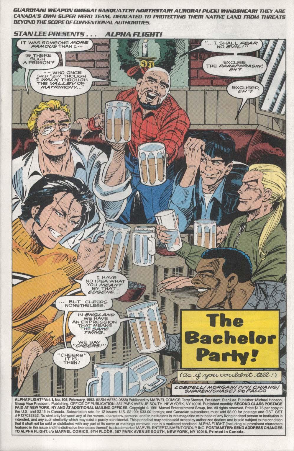 ALPHA FLIGHT #105 Marvel comic book 2 1992