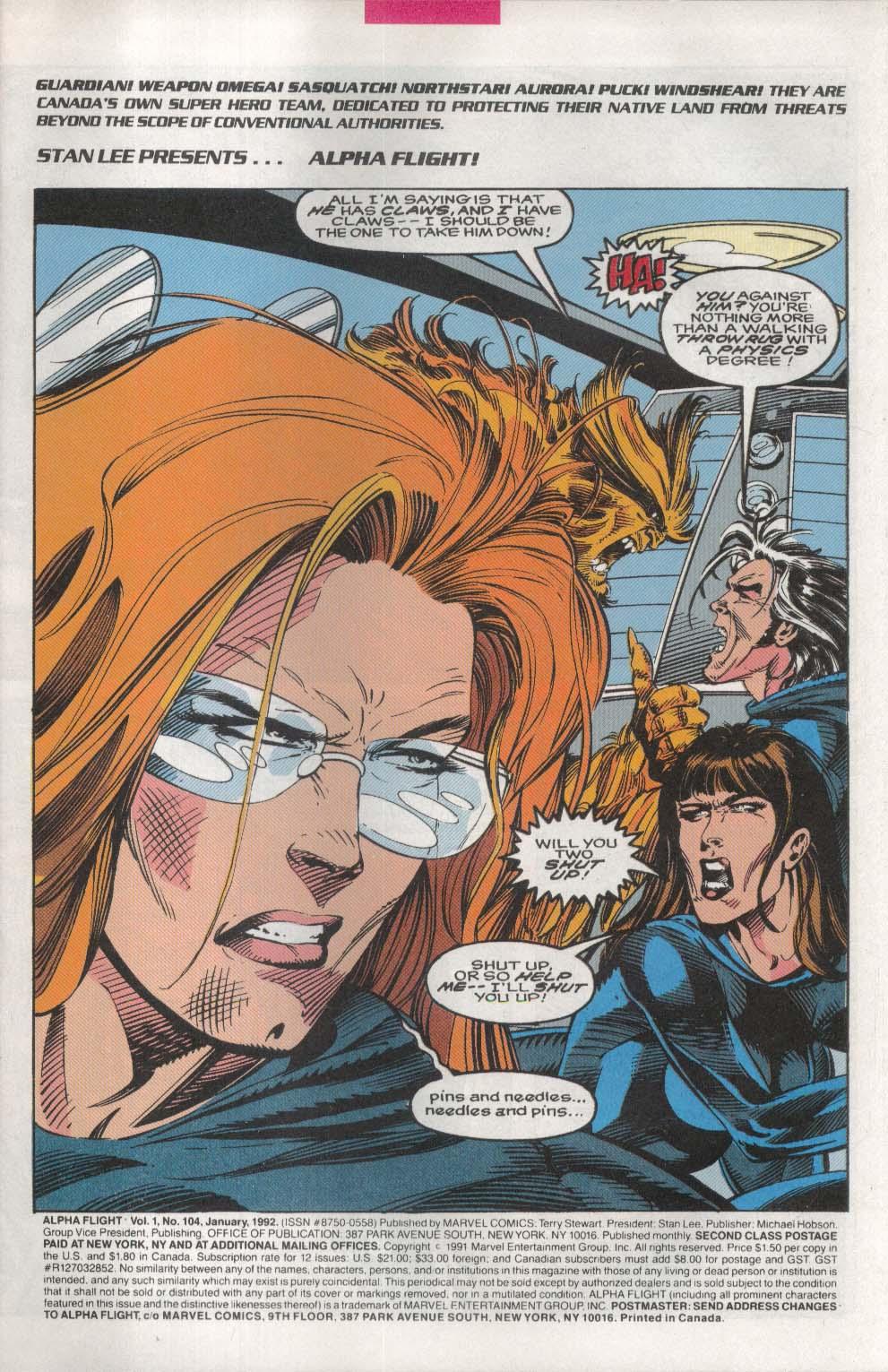 ALPHA FLIGHT #104 Marvel comic book 1 1992