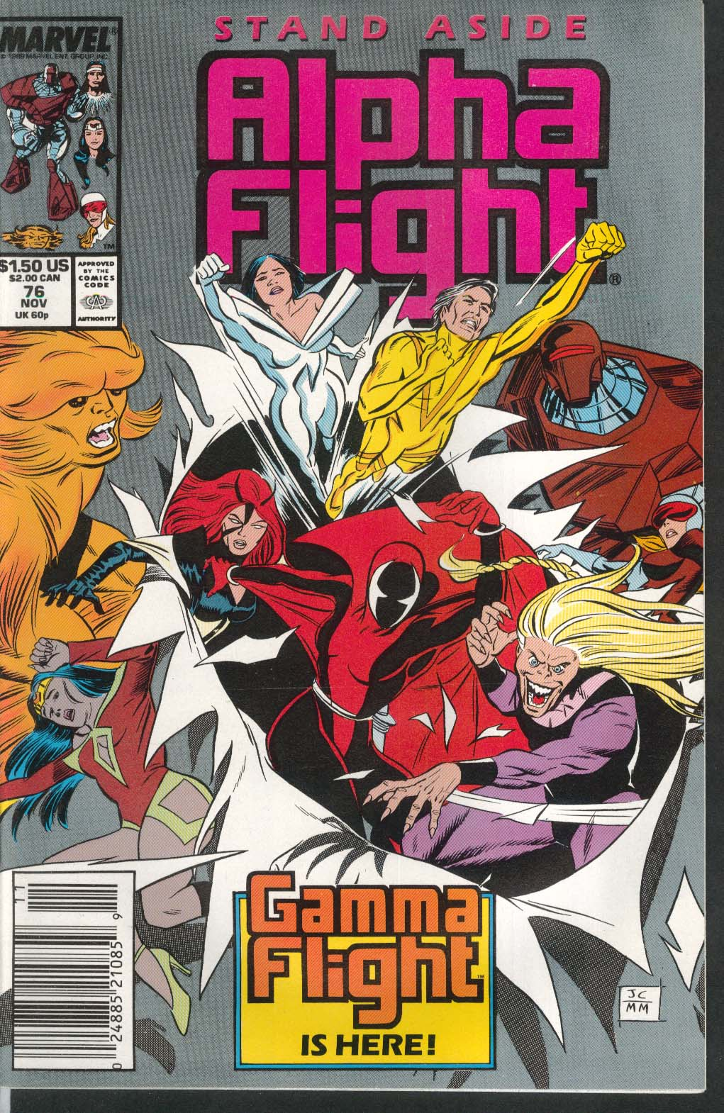 ALPHA FLIGHT #76 Marvel comic book 11 1989 Gamme Flight