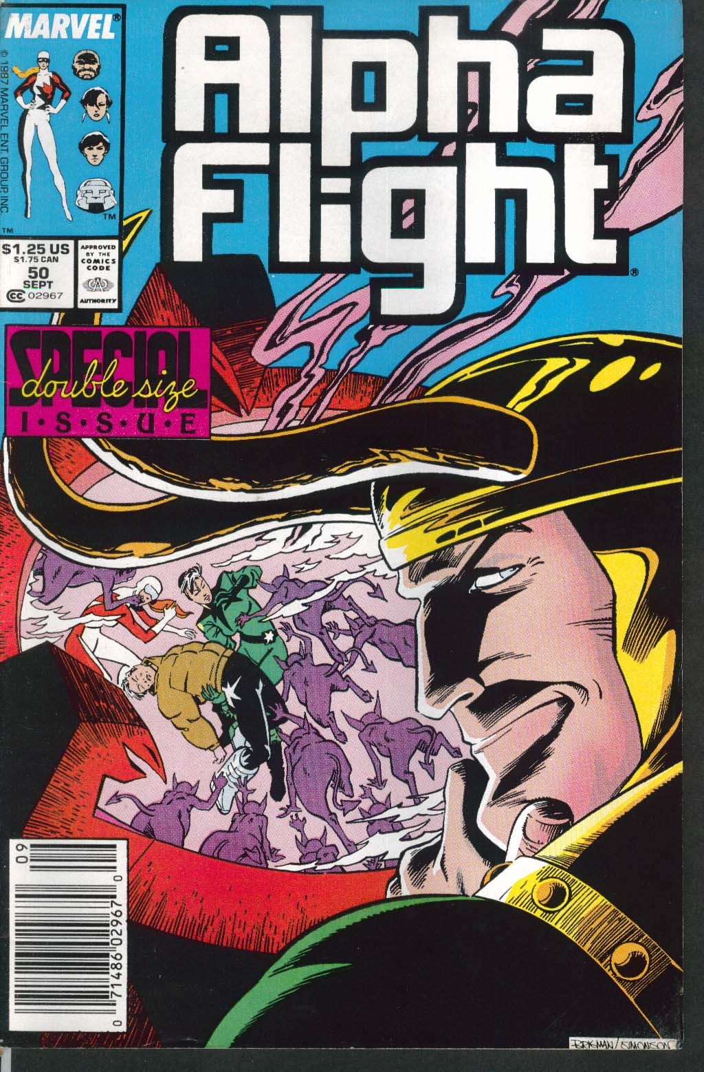 ALPHA FLIGHT #50 Marvel comic book 9 1987
