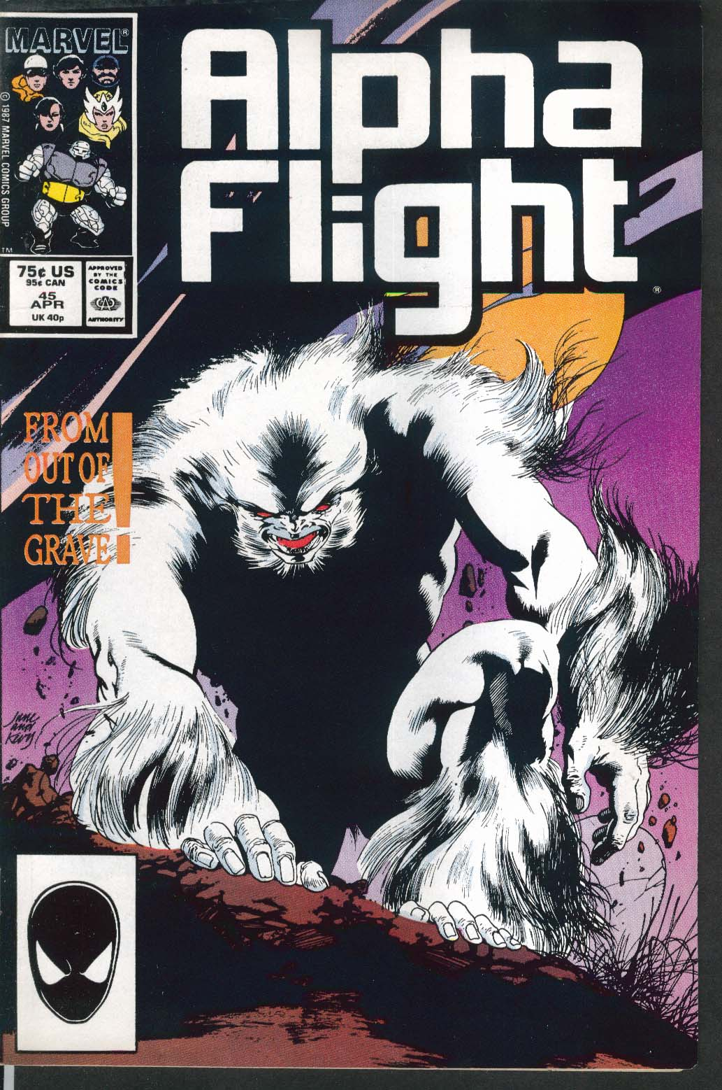 ALPHA FLIGHT #45 Marvel comic book 4 1987