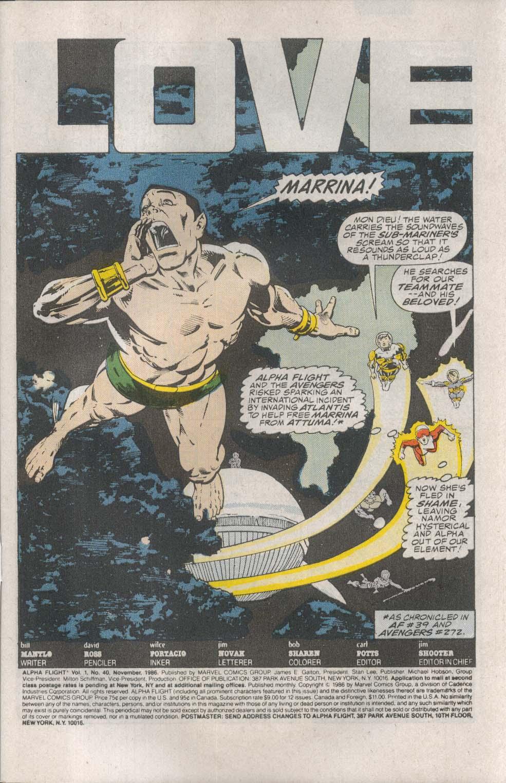 ALPHA FLIGHT #40 Marvel comic book 11 1986