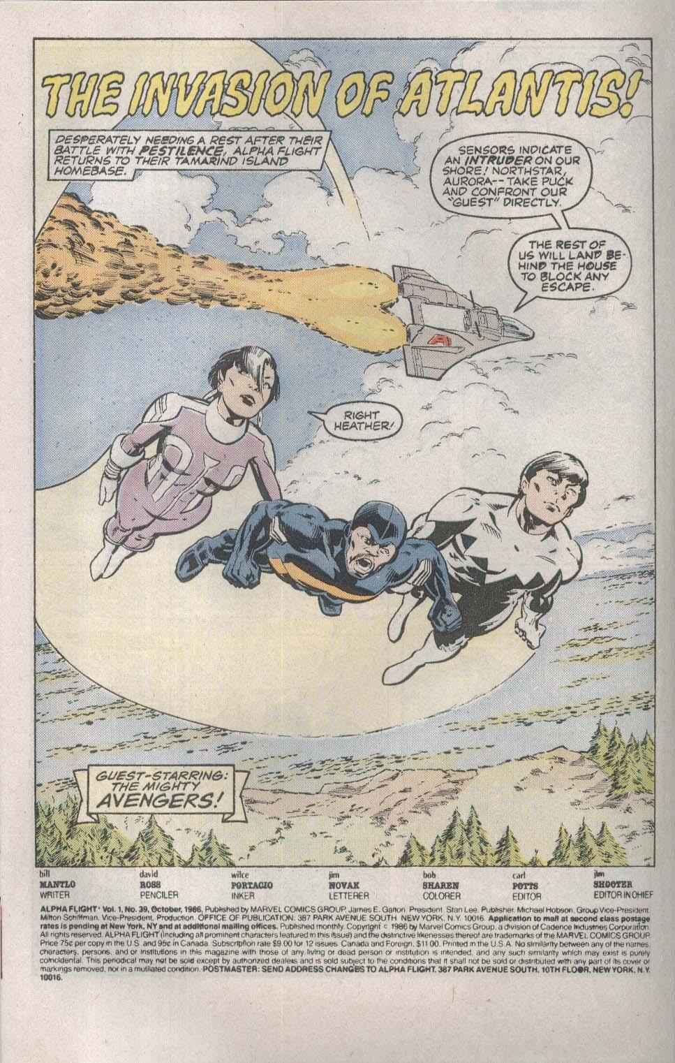 ALPHA FLIGHT #39 Marvel comic book 10 1986