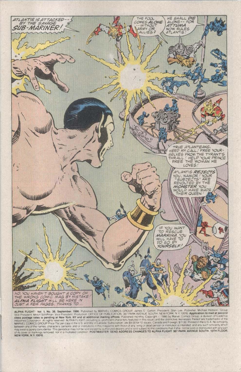 ALPHA FLIGHT #38 Marvel comic book 9 1986