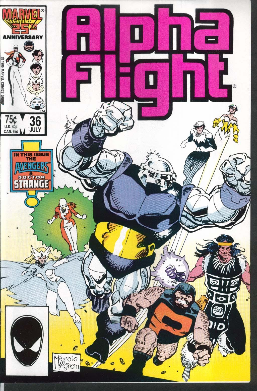 ALPHA FLIGHT #36 Marvel comic book 7 1986 Avengers Doctor Strange