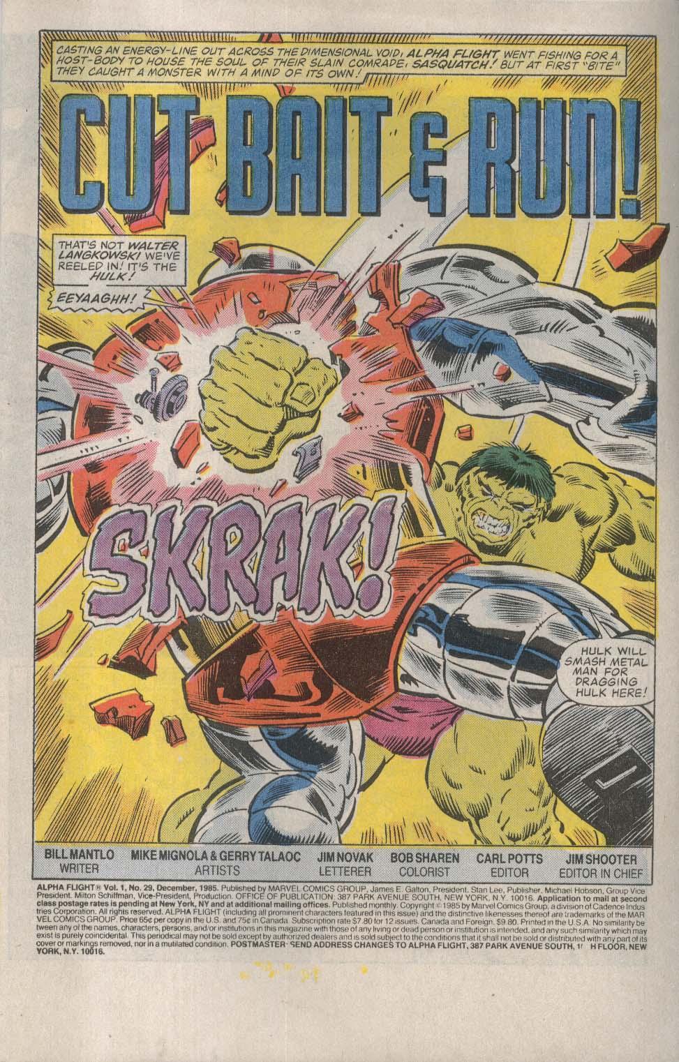 ALPHA FLIGHT #29 Marvel comic book 12 1985