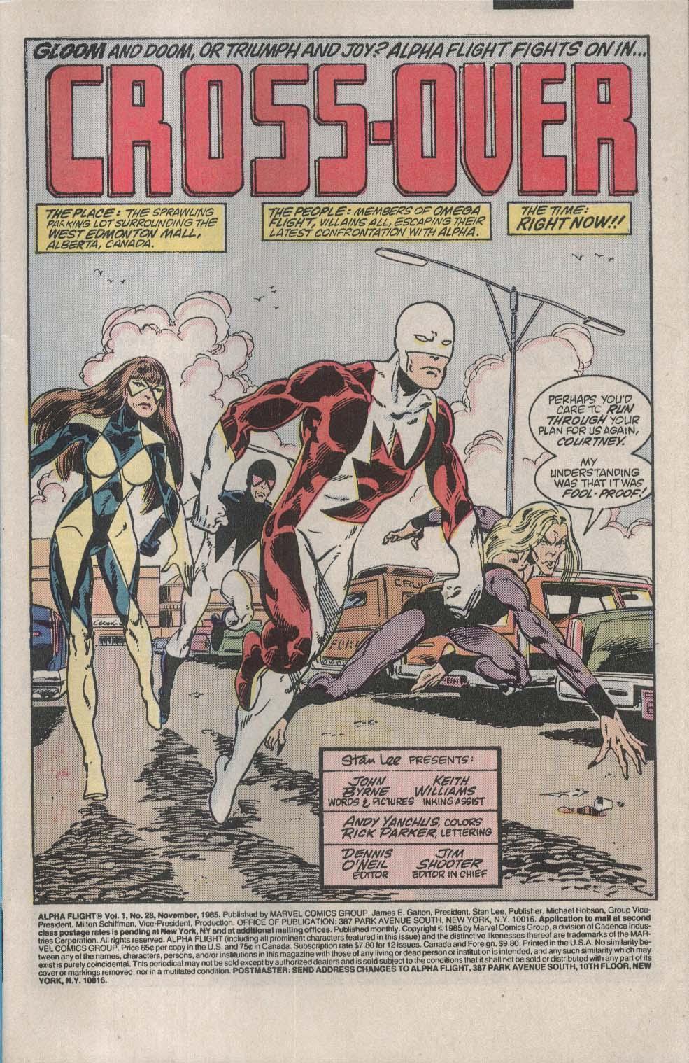 ALPHA FLIGHT #28 Marvel comic book 11 1985 Secret Wars II