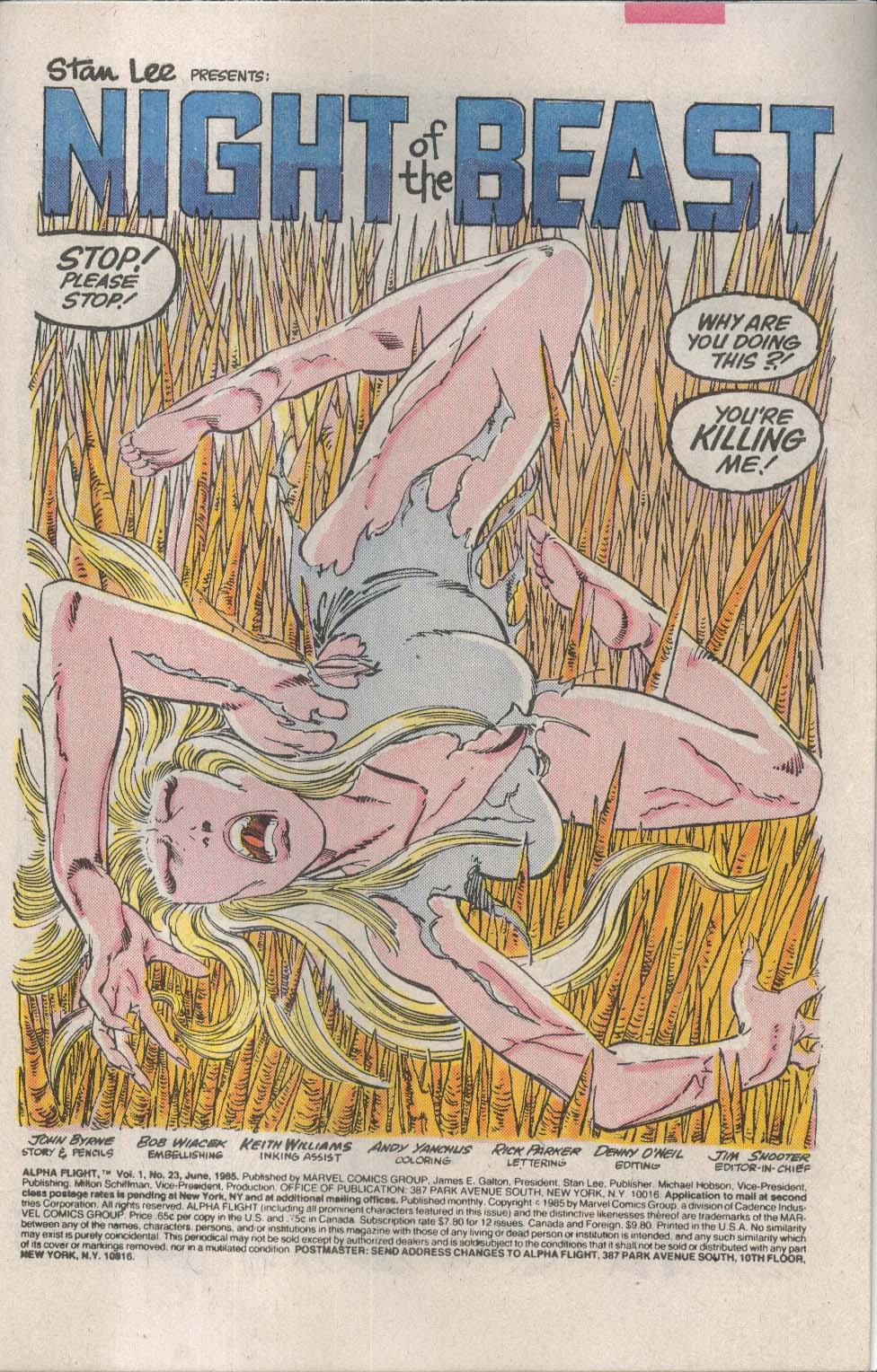 ALPHA FLIGHT #23 Marvel comic book 6 1985