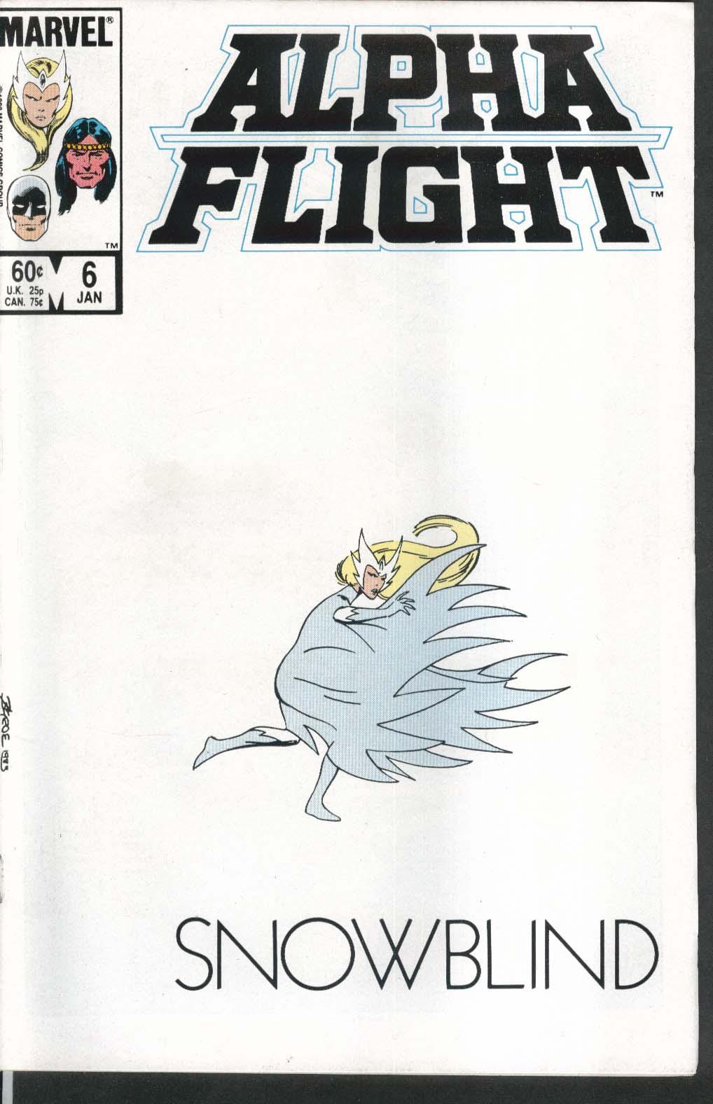 ALPHA FLIGHT #6 Marvel comic book 1 1984 Snowblind