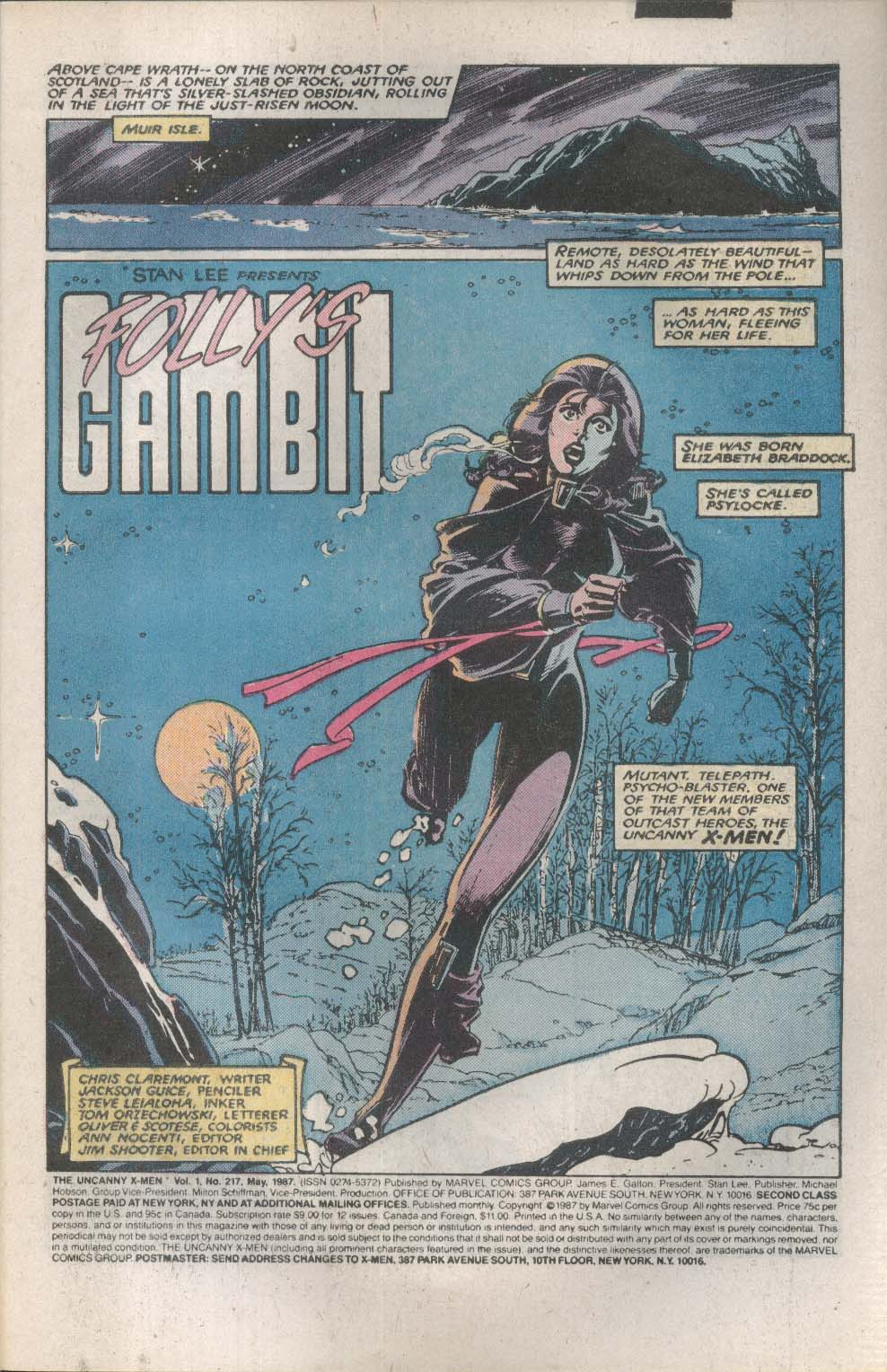 UNCANNY X-MEN #217 Marvel comic book 5 1987