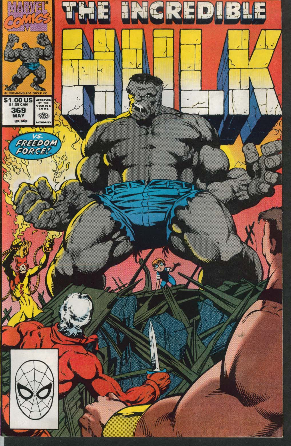 Incredible HULK #369 Marvel comic book 5 1990 Freedom Force