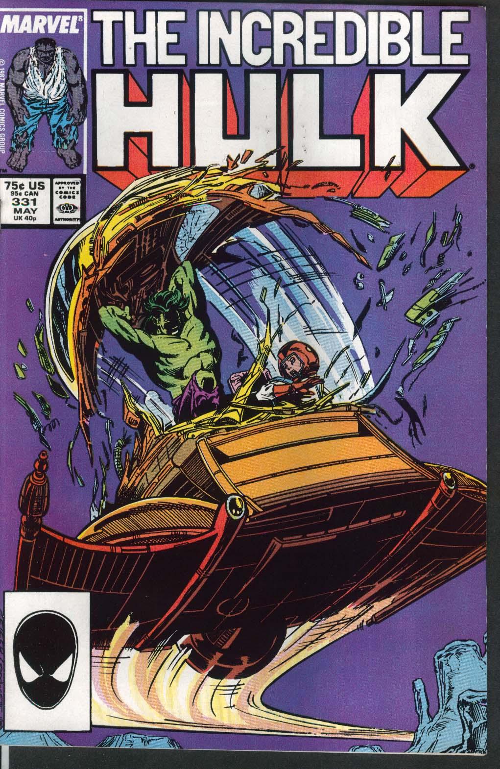 Incredible HULK #331 Marvel comic book 5 1987