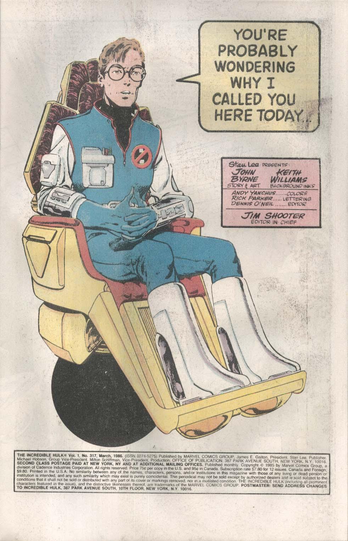 Incredible HULK #317 Marvel comic book 3 1986