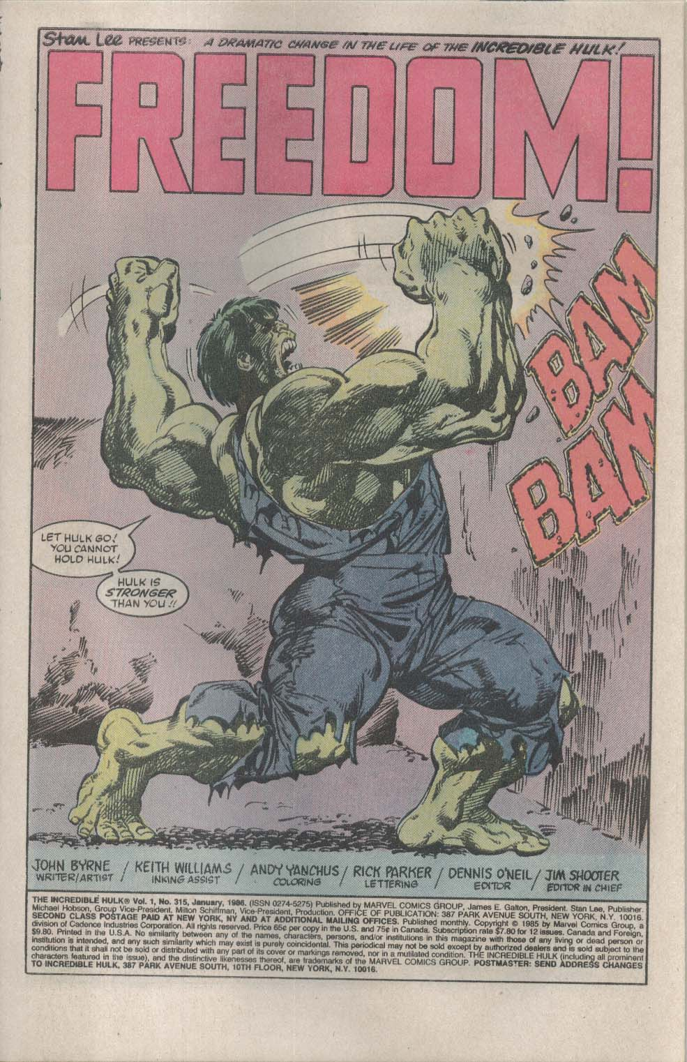 Incredible HULK #315 Marvel comic book 1 1986