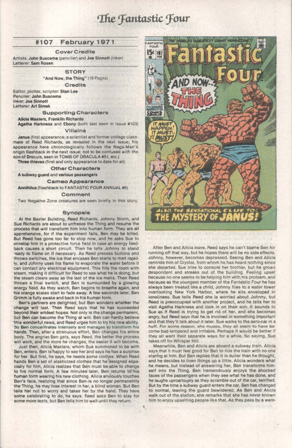 Official Index to FANTASTIC FOUR #7 Marvel comic book 6 1986