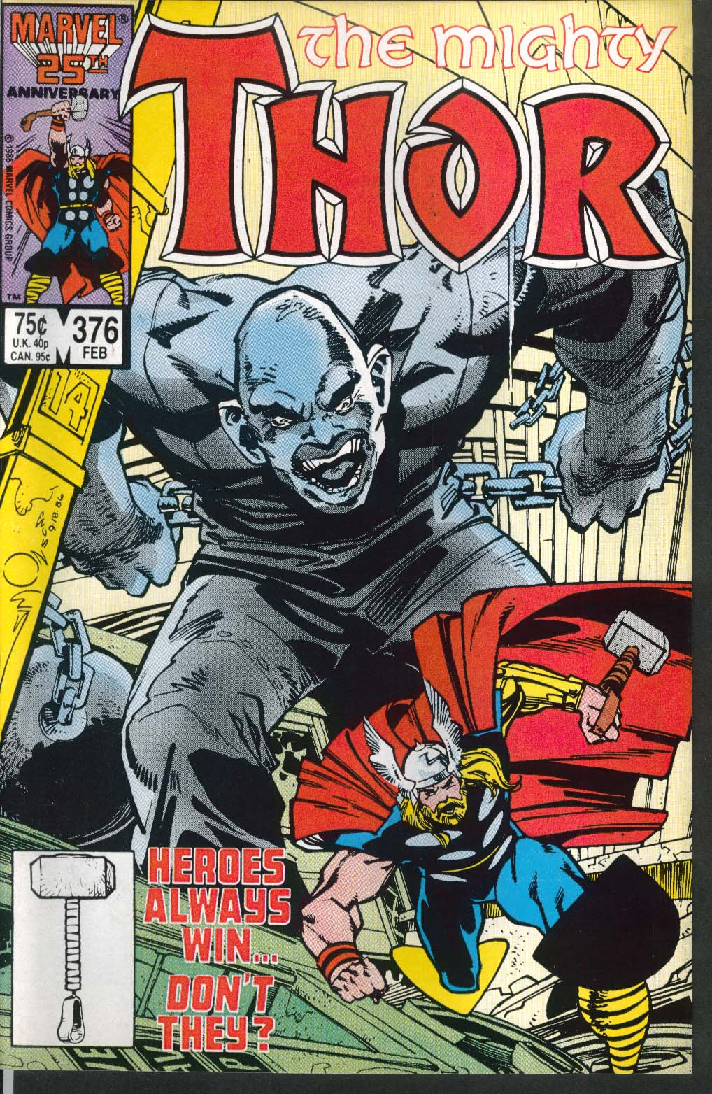 Mighty THOR #376 Marvel comic book 2 1987