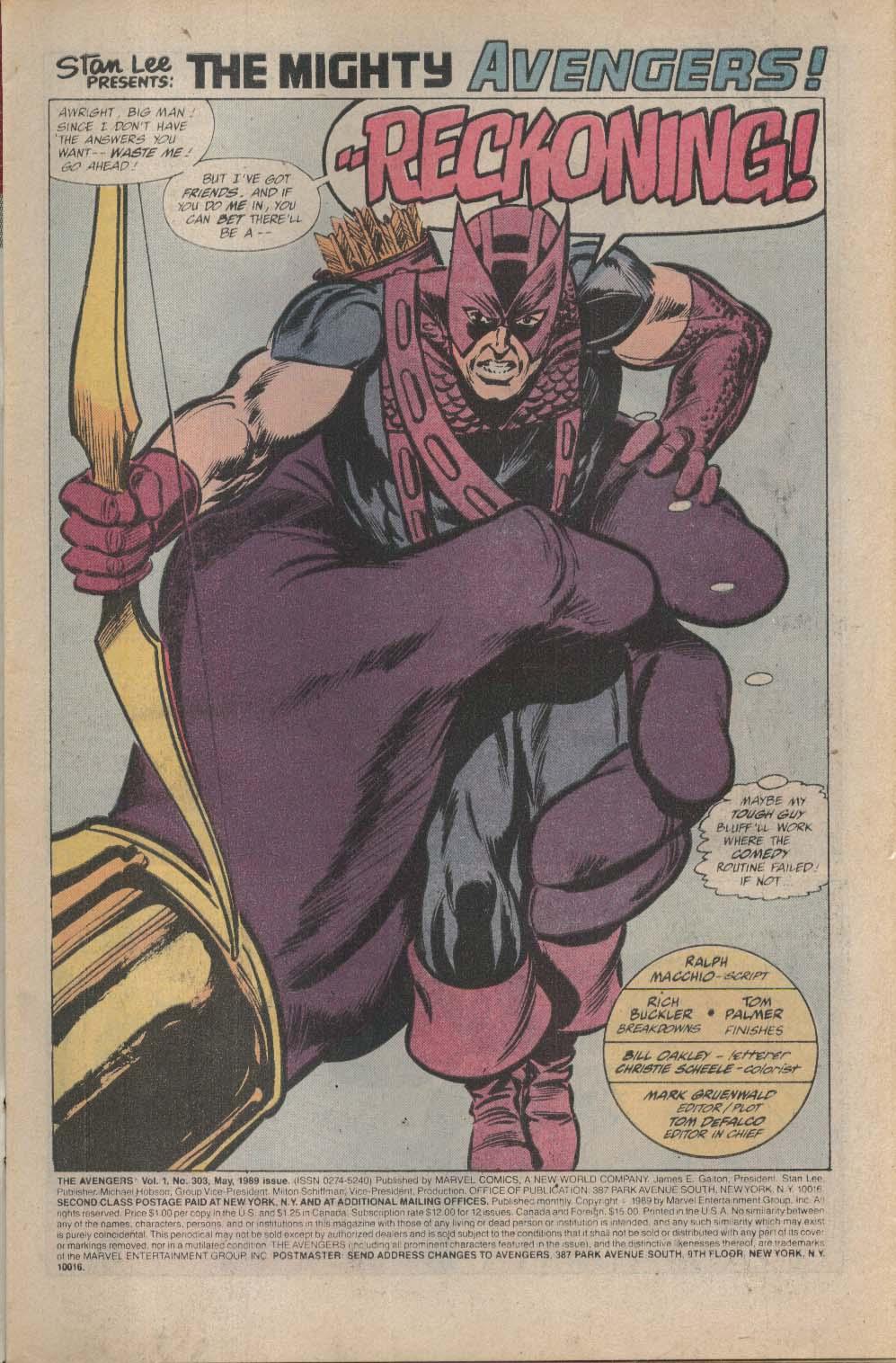 AVENGERS #303 Marvel comic book 5 1989