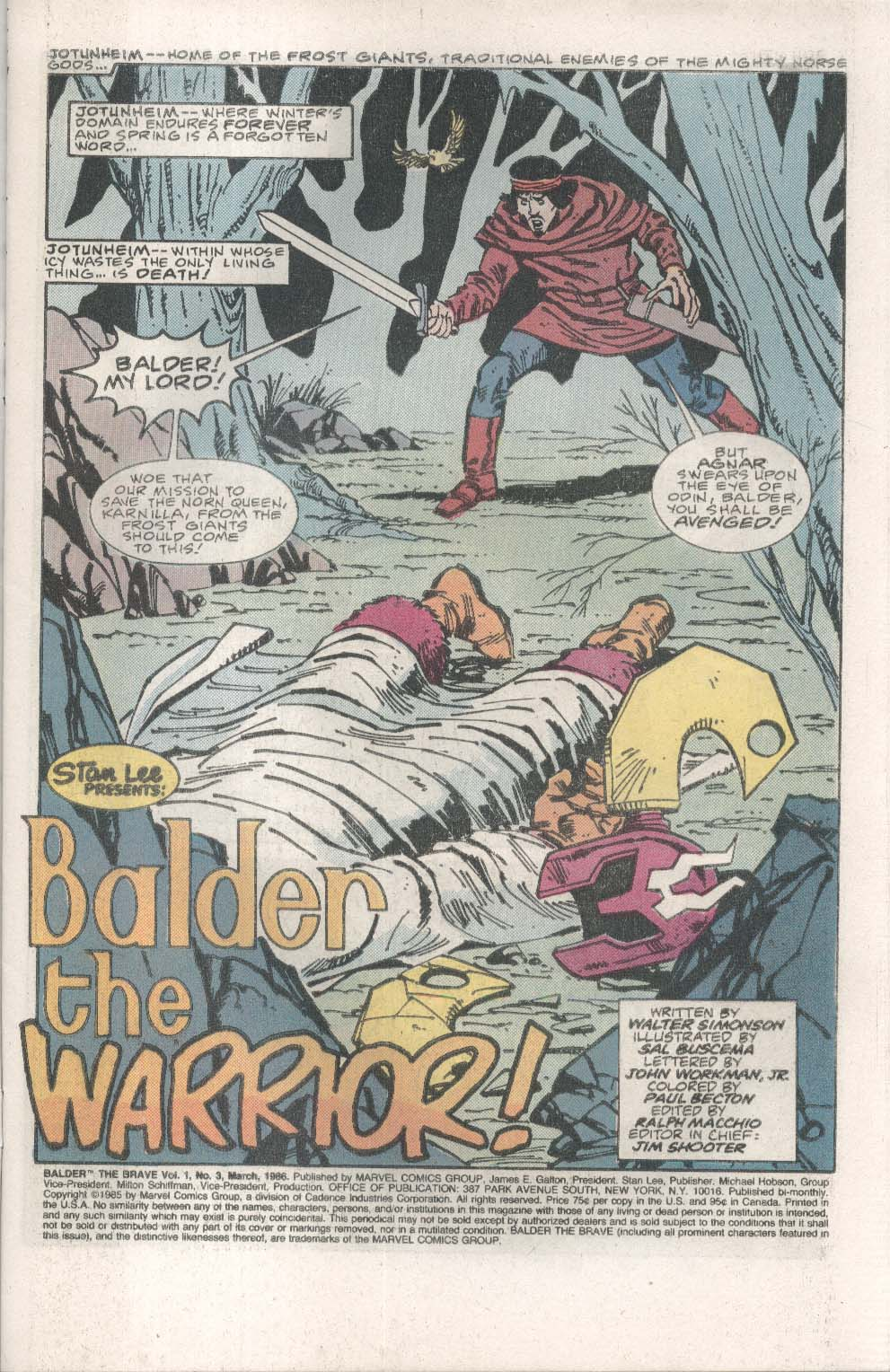 BALDER the BRAVE #3 Marvel comic book 3 1986