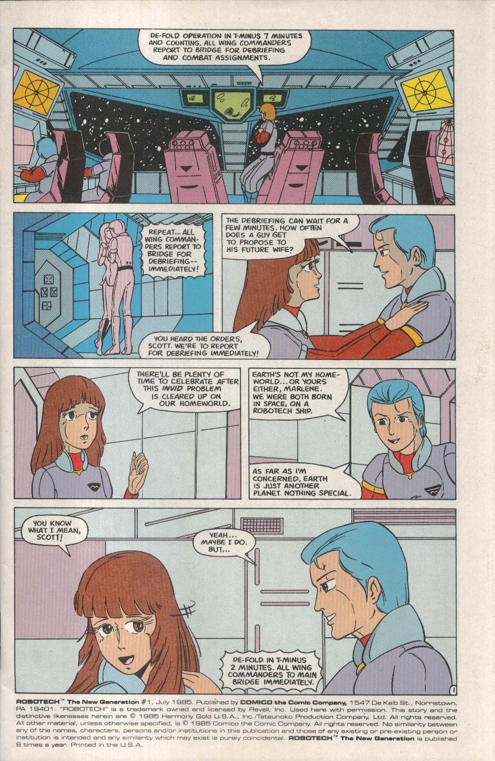 ROBOTECH New Generation #1 Comico comic book 7 1985