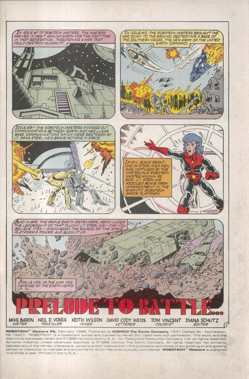 ROBOTECH Masters #6 Comico comic book 2 1986