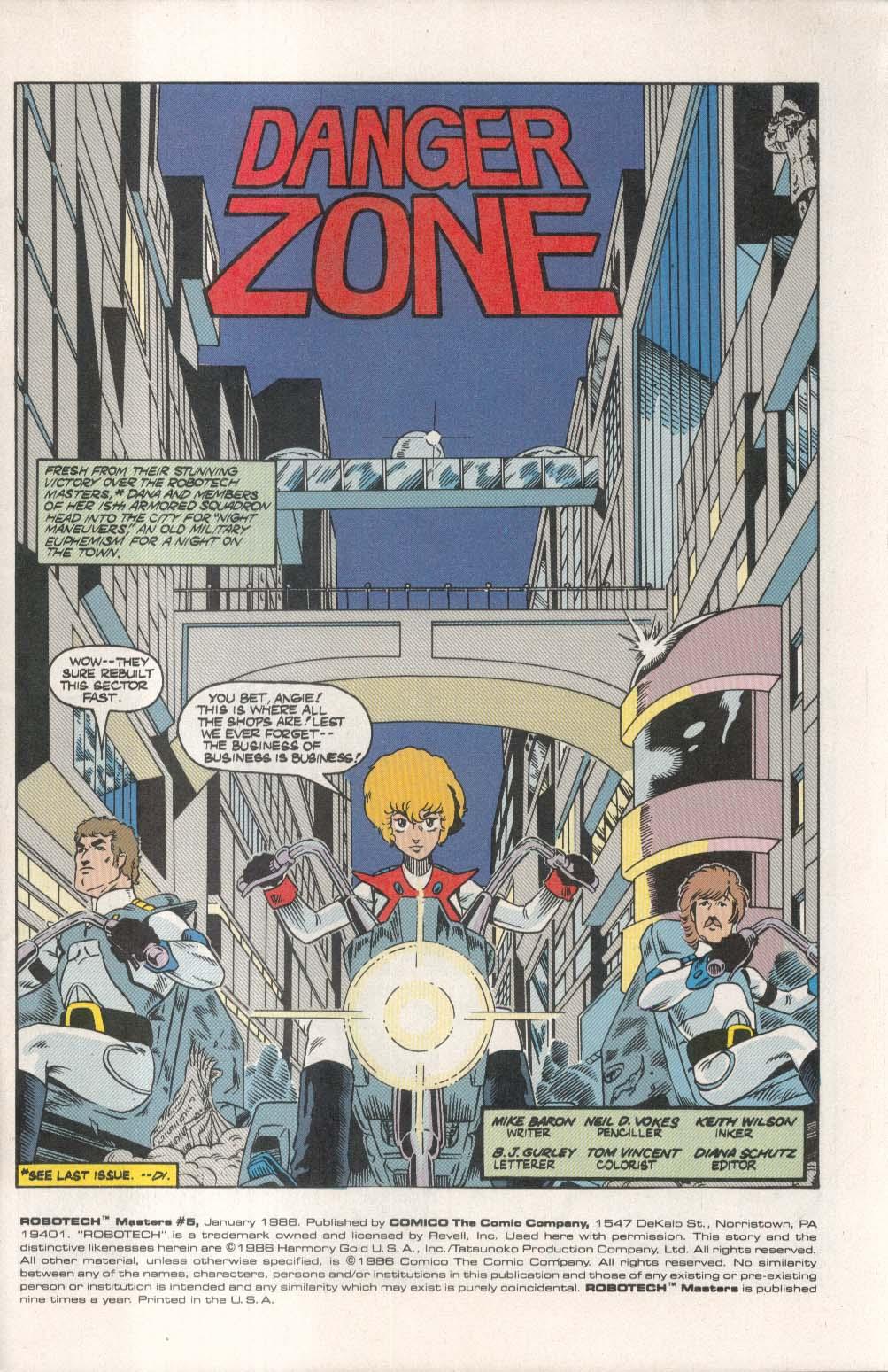 ROBOTECH Masters #5 Comico comic book 1 1986