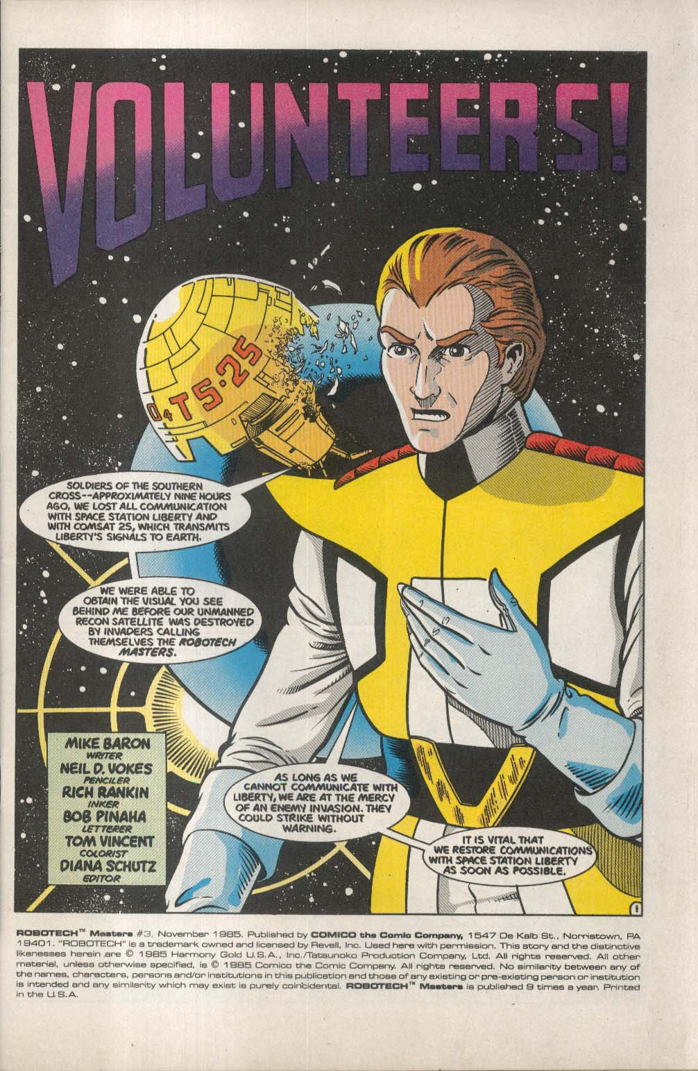 ROBOTECH Masters #3 Comico comic book 11 1985