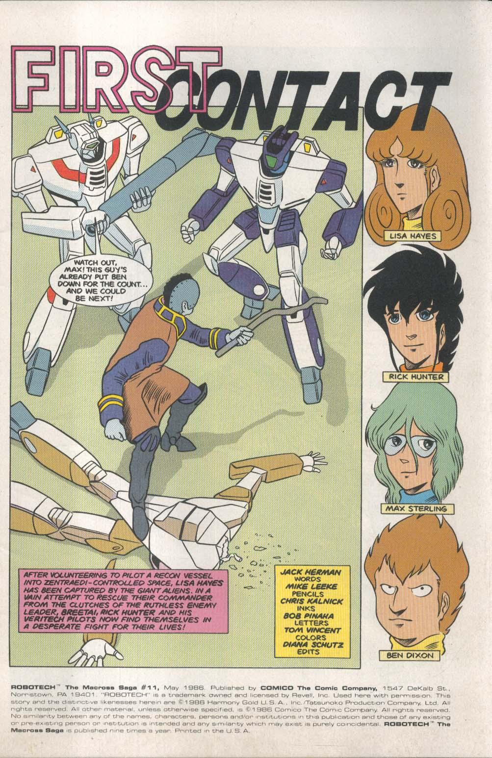 ROBOTECH Macross Saga #11 Comico comic book 5 1986