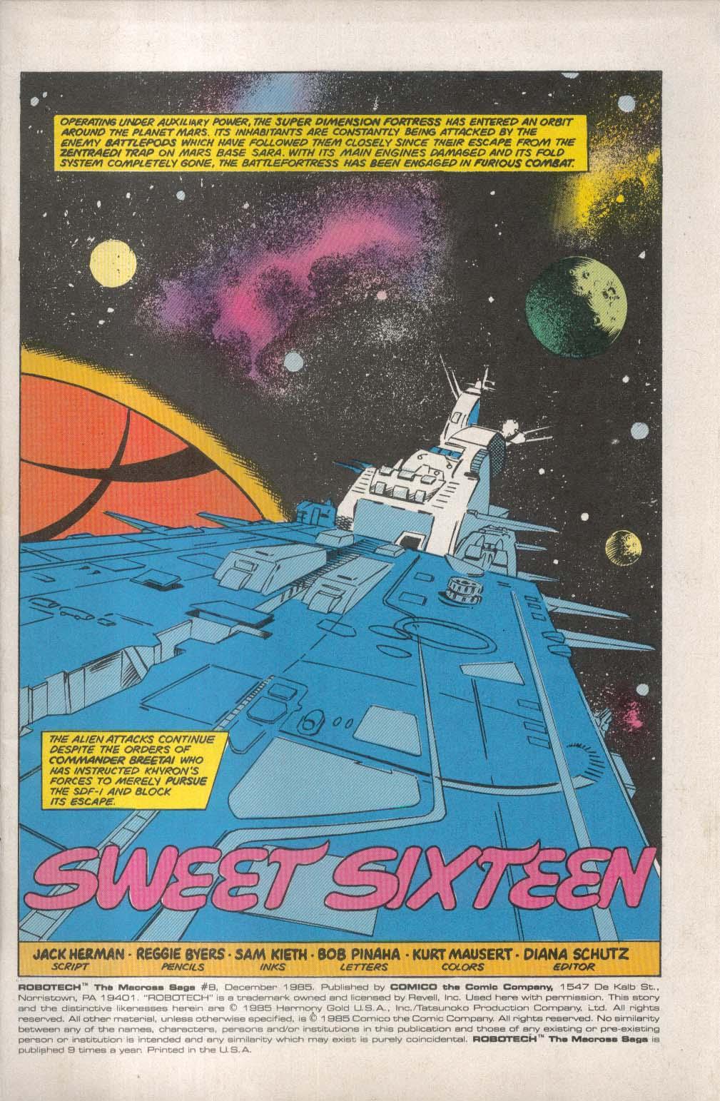 ROBOTECH Macross Saga #8 Comico comic book 12 1985