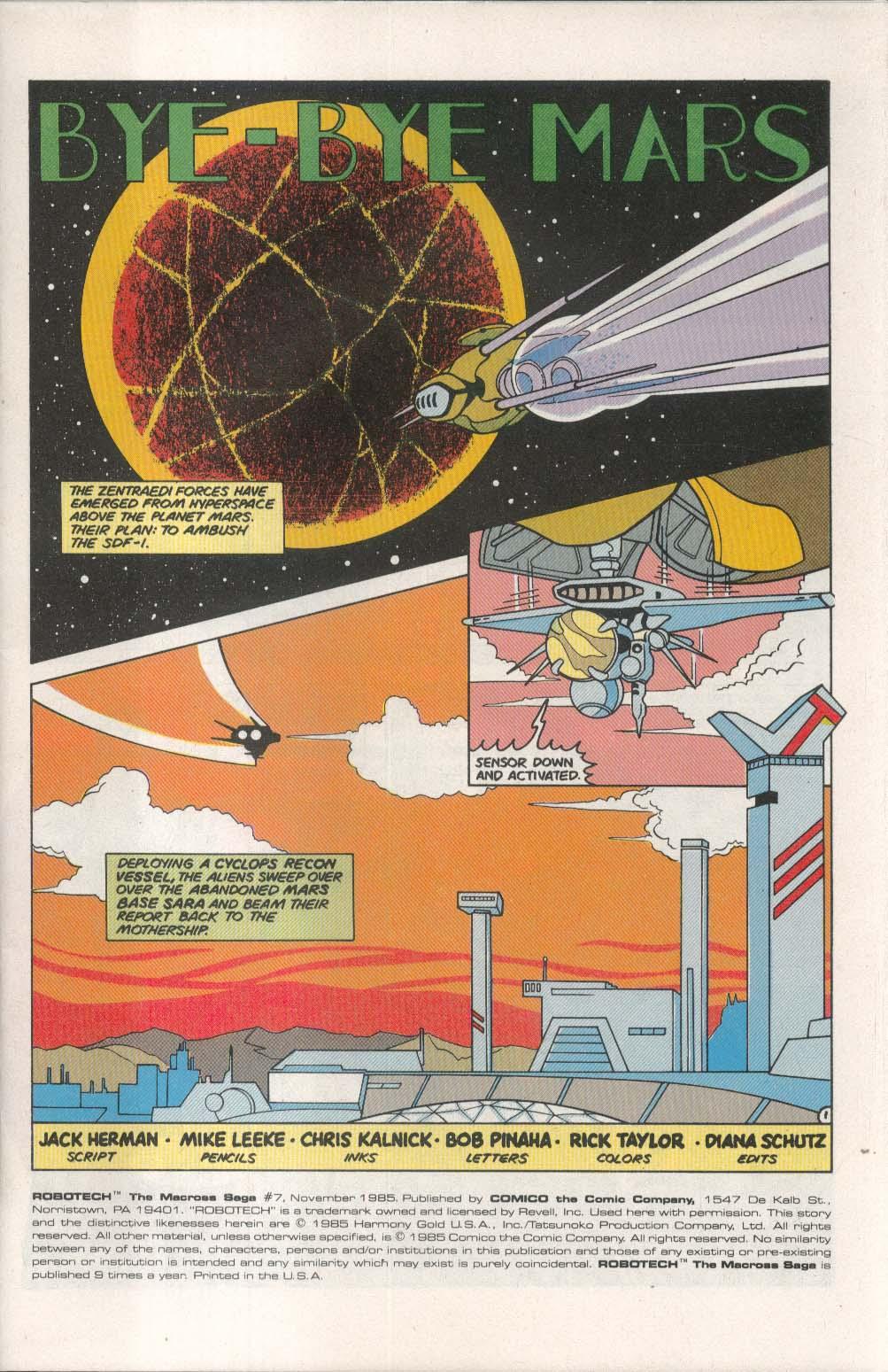 ROBOTECH Macross Saga #7 Comico comic book 11 1985