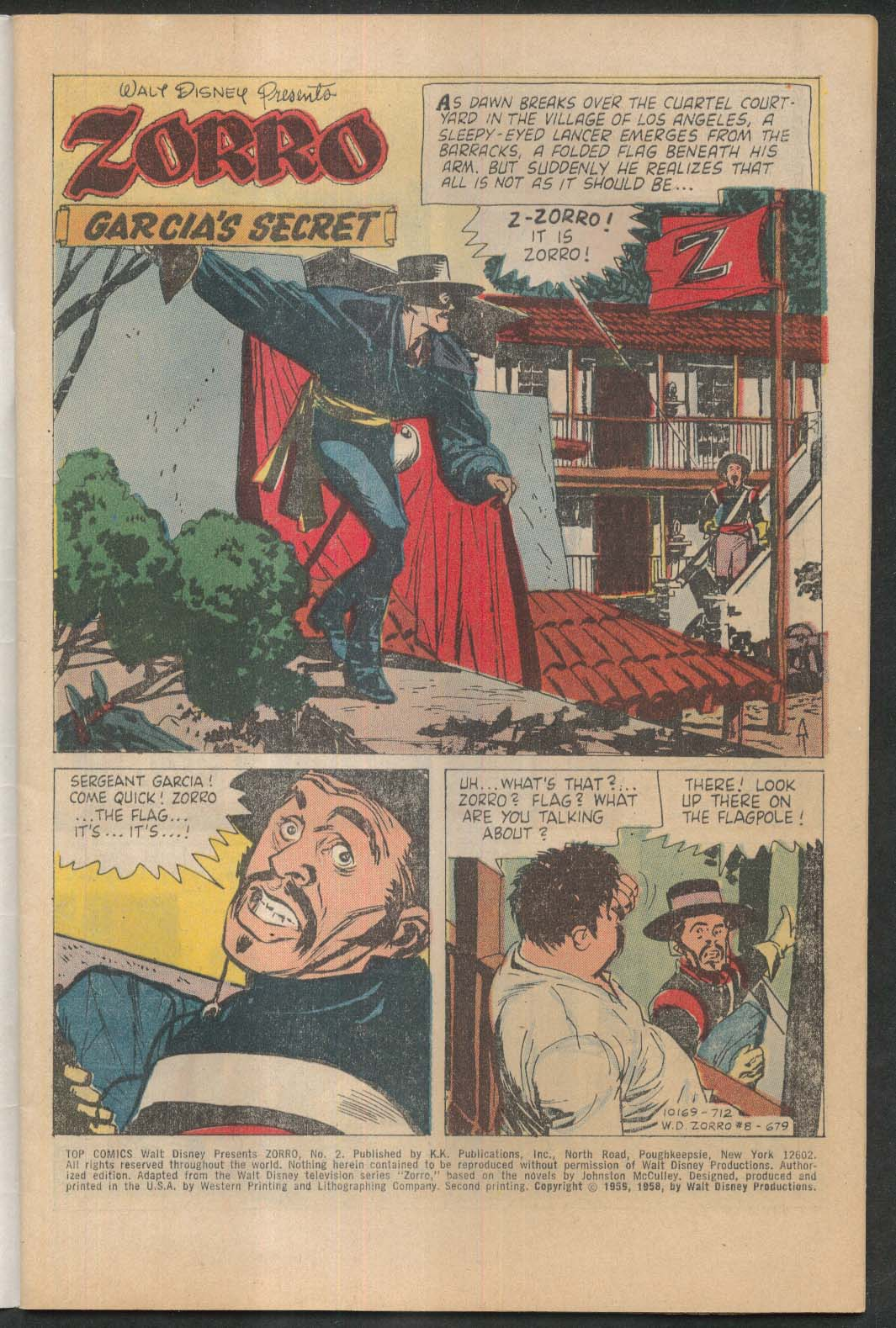 TOP COMICS Walt Disney presents ZORRO #2 comic book 1959