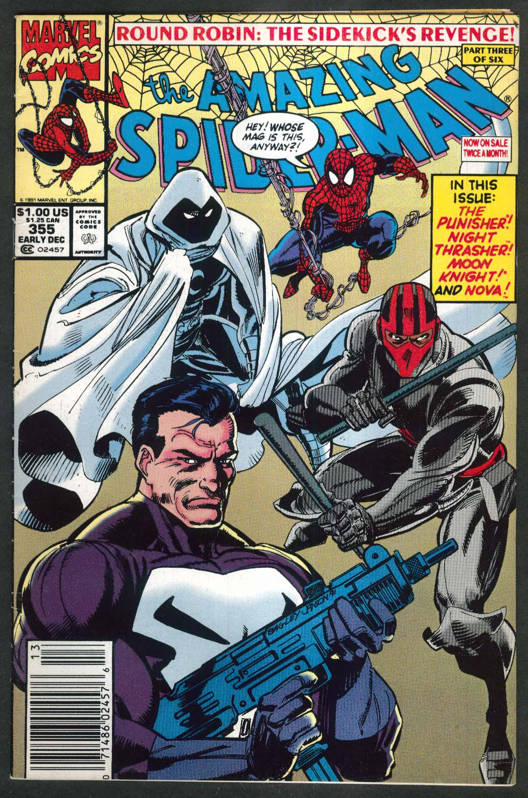 AMAZING SPIDER-MAN #355 Marvel comic book 12 1991 Punisher
