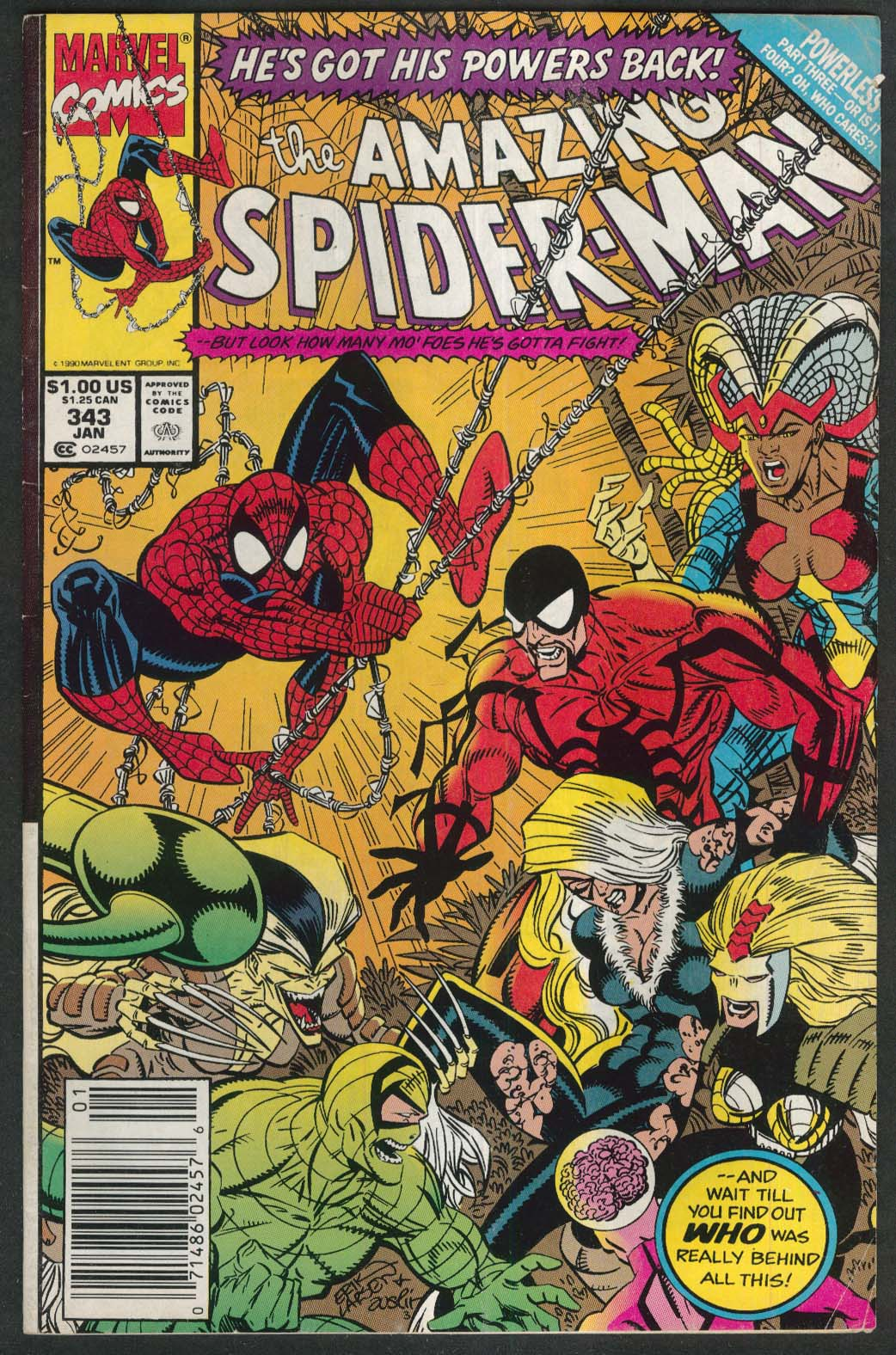 AMAZING SPIDER-MAN #343 Marvel comic book 1 1991