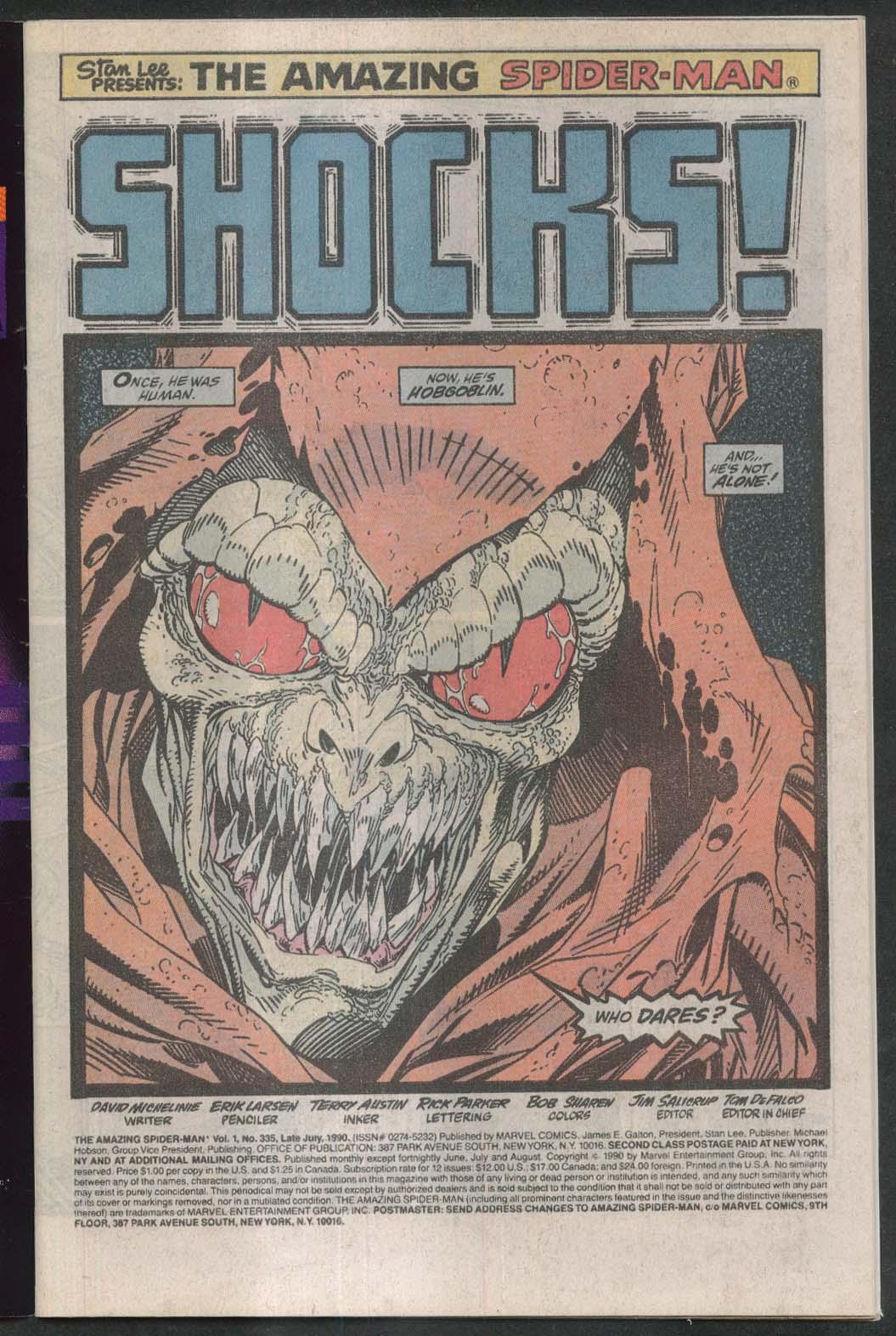 AMAZING SPIDER-MAN #335 Marvel comic book 7 1990 Shocker