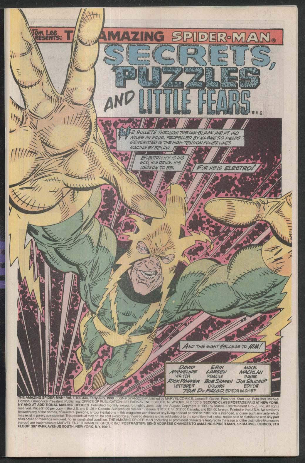 AMAZING SPIDER-MAN #334 Marvel comic book 7 1990 Electro