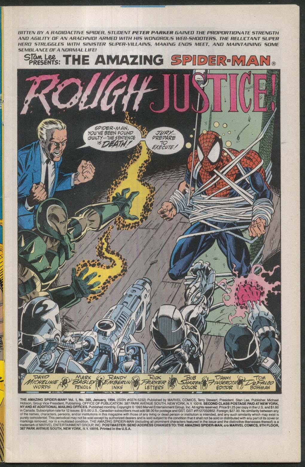 AMAZING SPIDER-MAN #385 Marvel comic book 1 1994