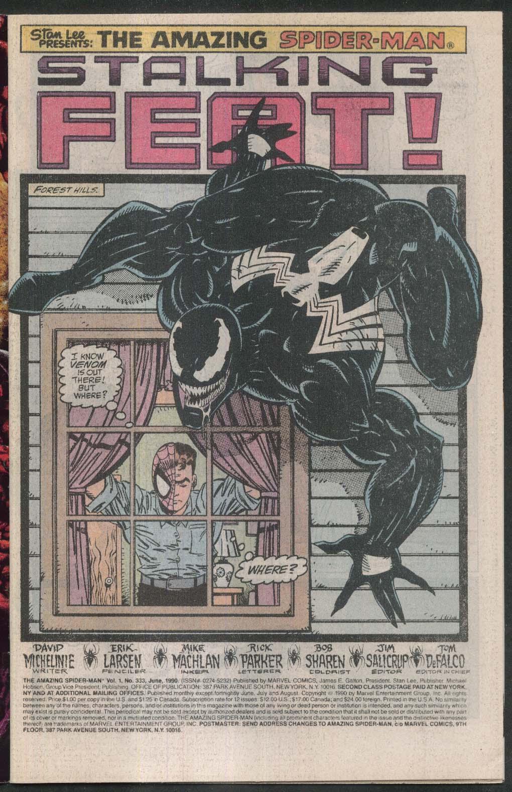 AMAZING SPIDER-MAN #333 Marvel comic book 6 1990 Venom