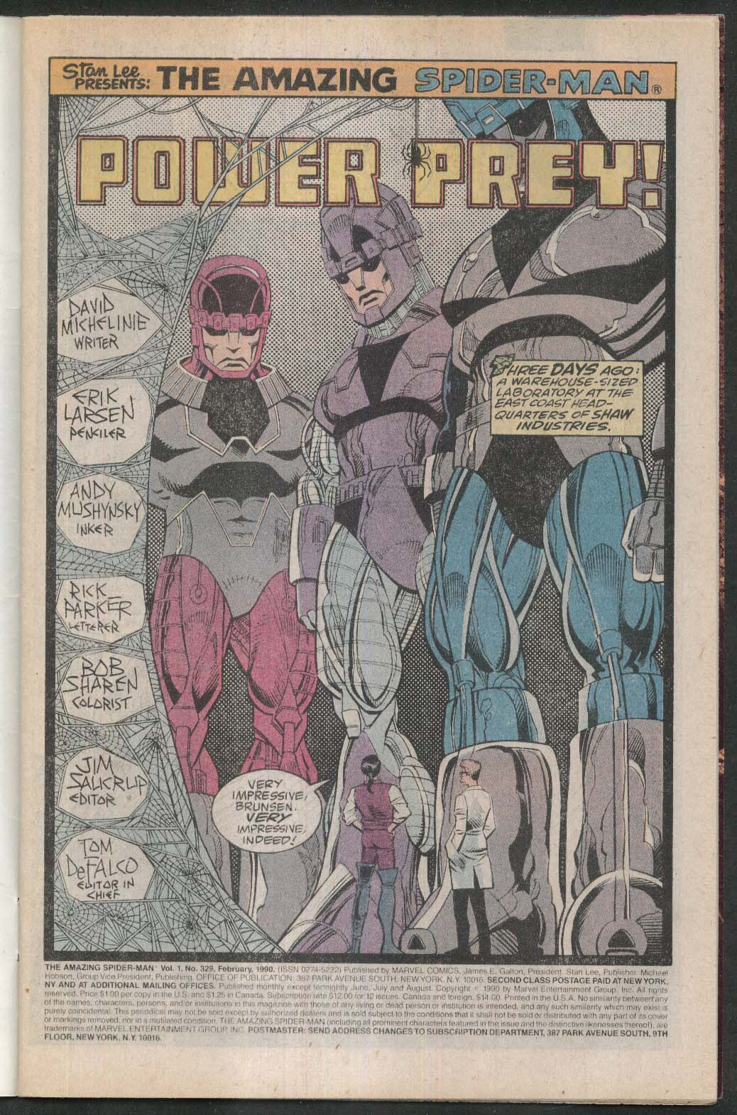 AMAZING SPIDER-MAN #329 Marvel comic book 2 1990 Tri-Sentinel