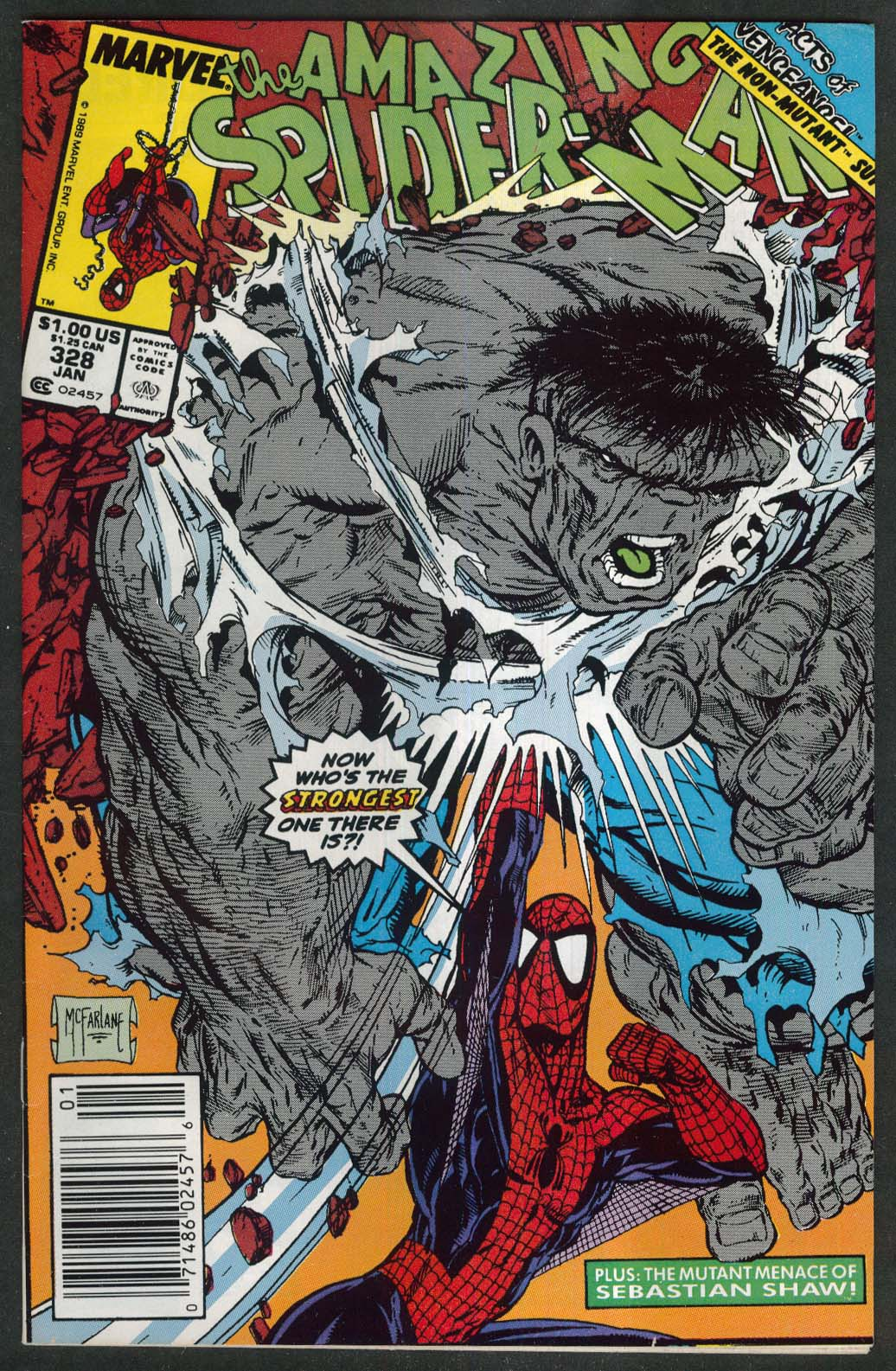 AMAZING SPIDER-MAN #328 Marvel comic book 1 1990 Hulk