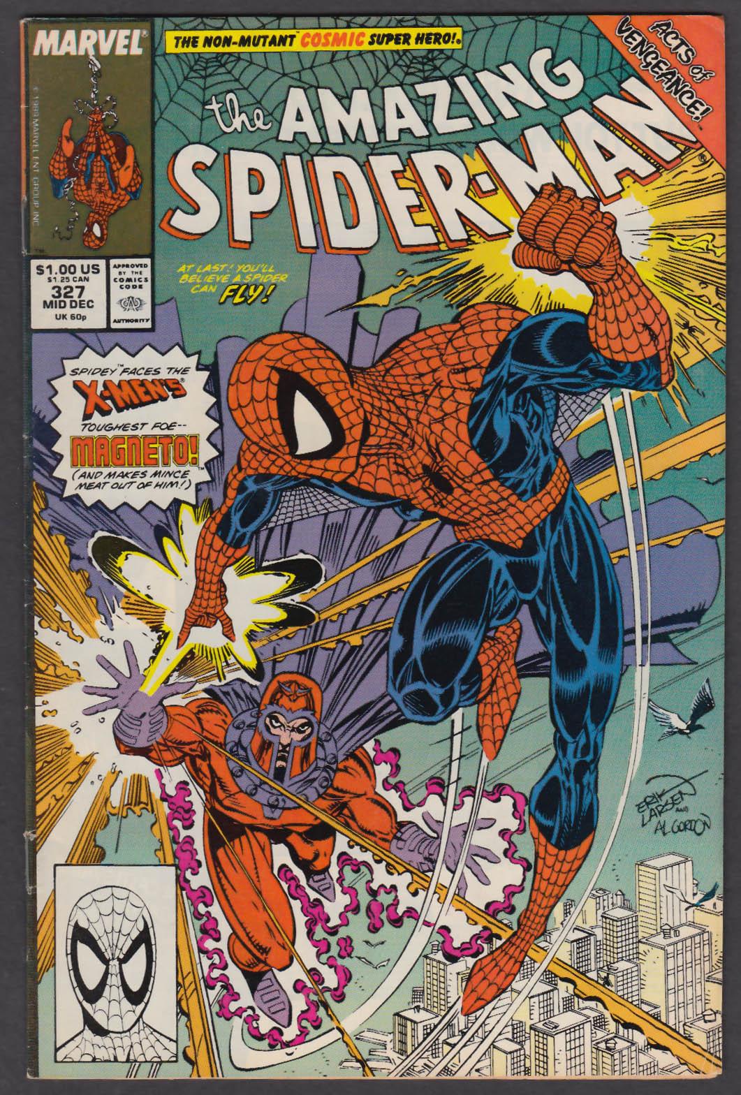 AMAZING SPIDER-MAN #327 Marvel comic book 12 1989 X-Men Magneto