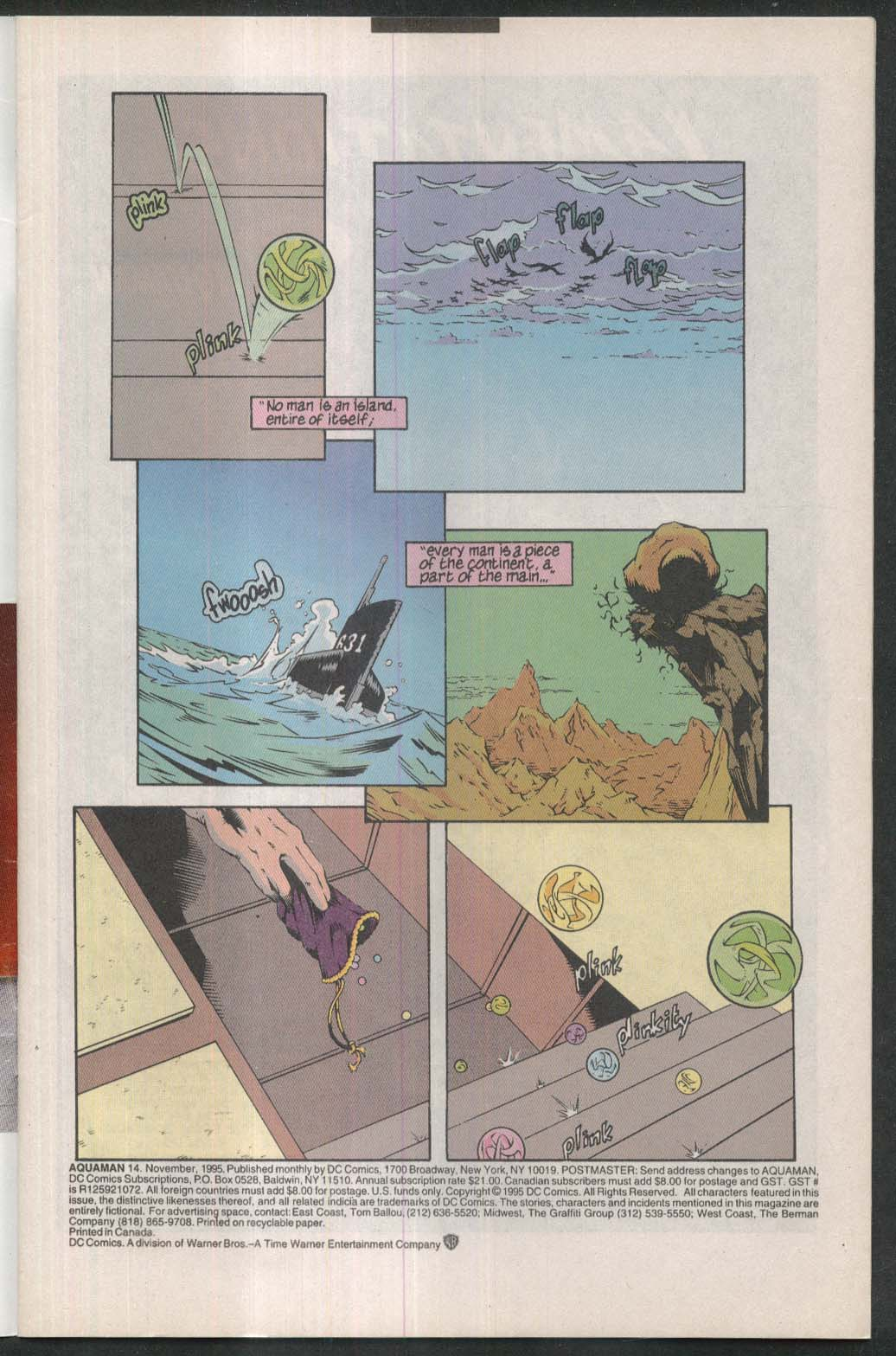 AQUAMAN #14 DC comic book 11 1995